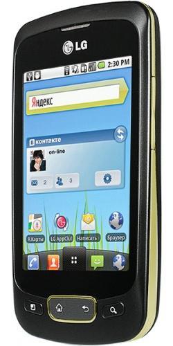 Фото телефона LG P500 Optimus One black gold