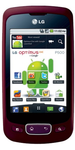 Фото телефона LG P500 Optimus One red