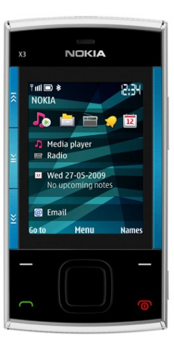 Nokia X3-00 slide blue on silver