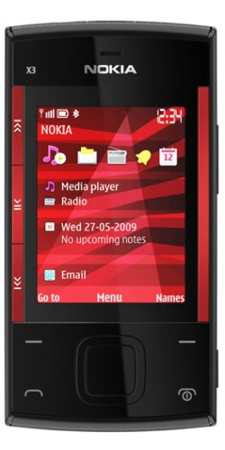 Nokia X3-00 slide red on black